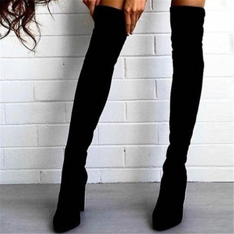 Foreign Trade New European And American Pointed Thick With Side Zipper Over The Knee Boots