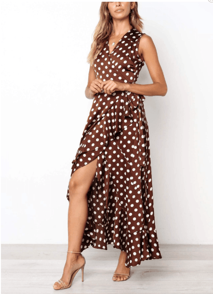 Casual Sexy V Neck Sleeveless Frenulum Polka Dot Maxi Dress