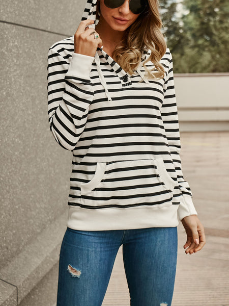 Striped Long Sleeve Hooded Sweater