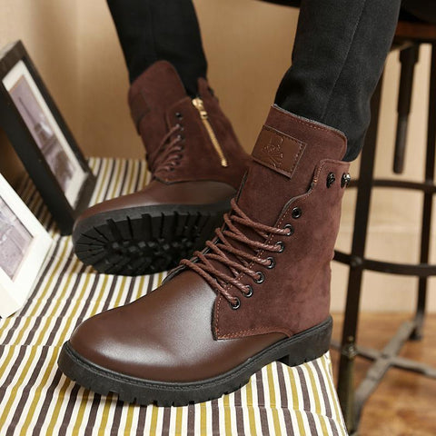 Classic men's stitching lace-up biker boots