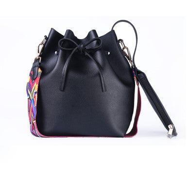Women's Bag Pumping Bucket Bag Ribbon Belt Hand Bag
