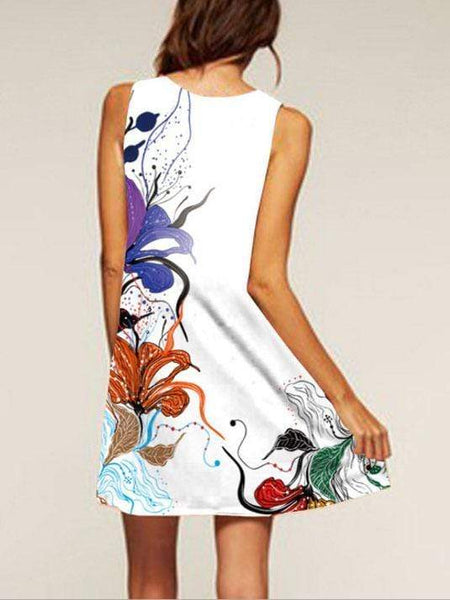 Flower Print Sleeveless Casual Dress