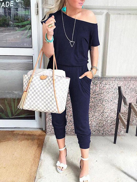 Solid Color One Shoulder Harem Pockets Casual Jumpsuit