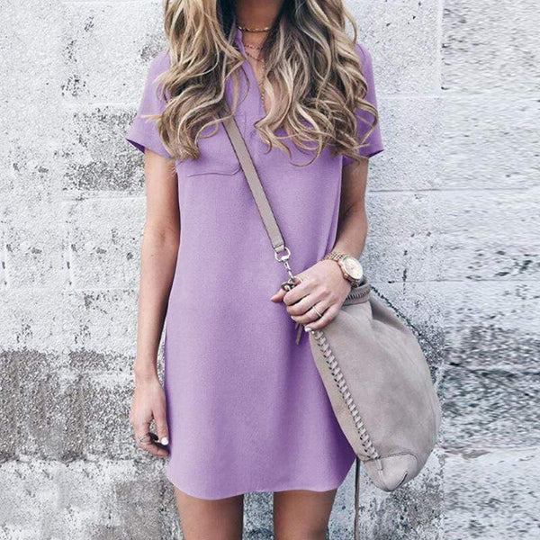 Fashion V Neck Pure Colour Splicing Casual Dresses