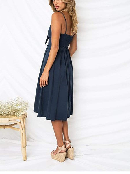 V-Neck  Bowknot Elastic Waist  Decorative Button  Plain Skater Dresses
