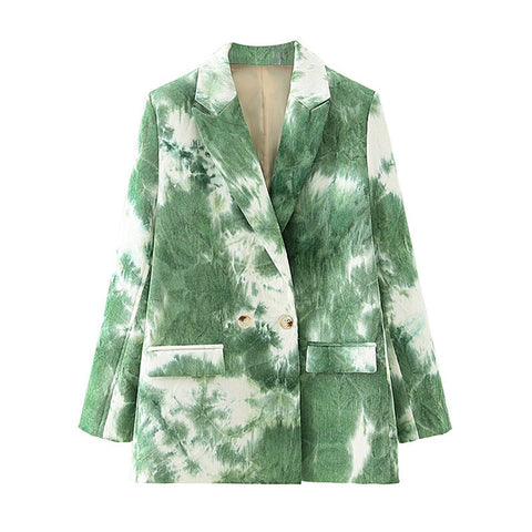Autumn Stylish Corduroy Gradient Tie-dye Blazer Coat Long Sleeve Pockets Female Blazers