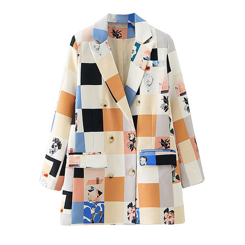 Autumn Stylish Plaid Print Blazer Coat Double Breasted  Blazers Chic Tops