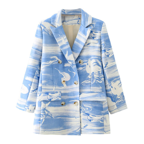 Autumn Stylish Print Blazer Coat Double Breasted Long Sleeve Pockets Female Blazers