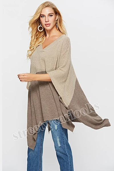 Autumn Streetwear Warm Capes Tops Color Block Plus Size Sweaters