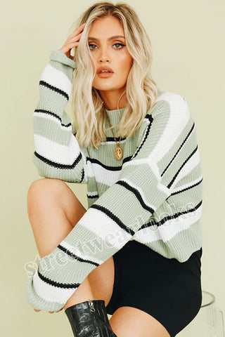 Autumn Winter Striped Knitted Women's Sweater Casual Long Sleeve O Neck Pullover Streetwear