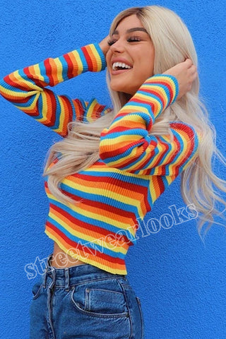 Autumn rainbow Striped Sweater Women Long Sleeves mock neck Casual Patchwork Knitted Pullovers