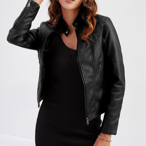 Black Leather Jacket Women Spring Autumn OL Stand Collar Motor Biker PU Jacket and Coat