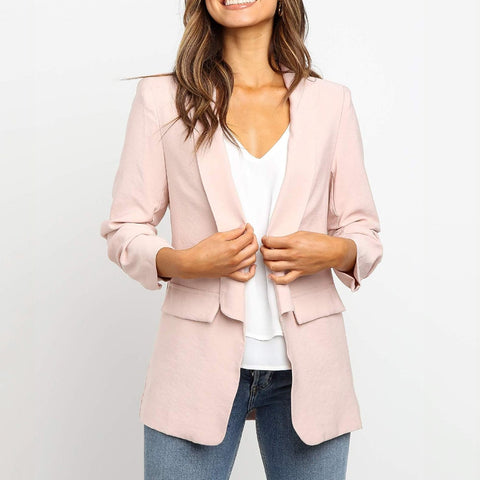 Blazer Women Slim Casual Long Sleeve Women Open Front Blazer Office Jackets Top