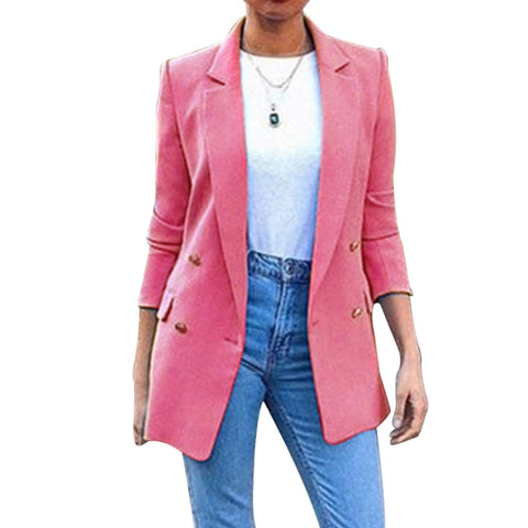 Office Ladies Turn Down Collar  Casual Female Outerwear Suit Blazer