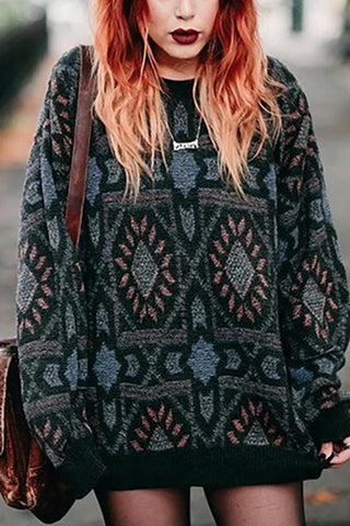 Bohemian loose printed long sleeve sweater