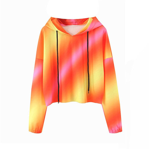 Casual Gradient print fashion women  ladies tie dye  loose pullover sweatshirt