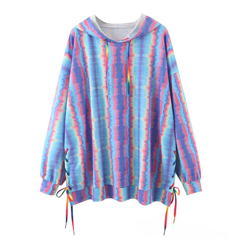 ladies tie dye autumn winter short sweatshirt oversize pullover sweatshirt