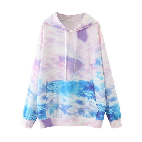 Casual streetwear fashion women hoodied shirt ladies tie dye  sweatshirt