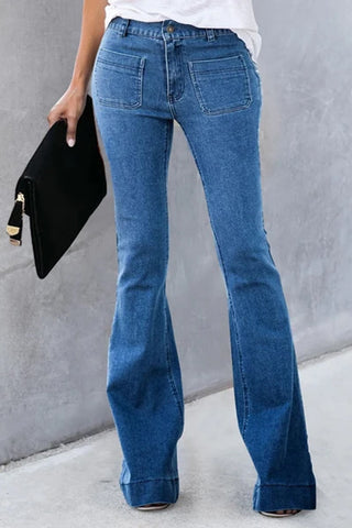 Casual Solid Bell-bottom Jeans