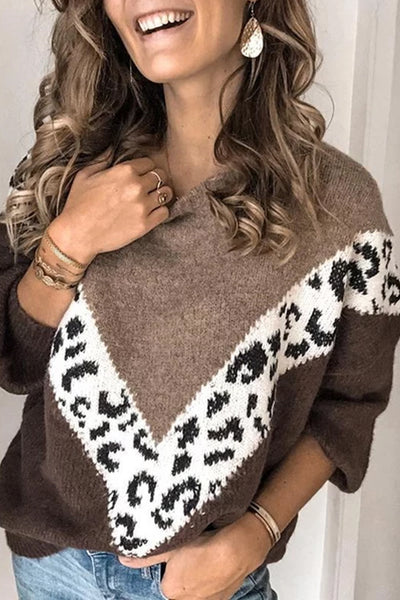 Casual Women Loose Color Matching Sweater