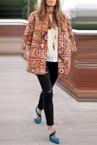 Coat Female 2020 Autumn Winter Women Outerwear Floral Print Women Coats Jackets