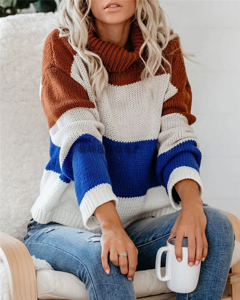 Color Block Turtleneck Sweater  2020 Long Sleeve Striped Oversized  Sweater Pullover