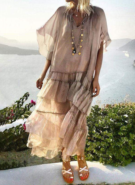 Bohemian Solid Color Short Sleeve Loose Dress