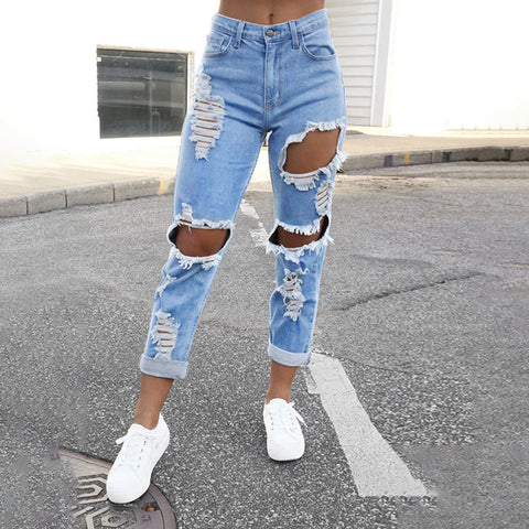 Disdistressed Jeans Hole Vintage Ripped Jeans for Women Full Pant With Holes High Waist Jeans