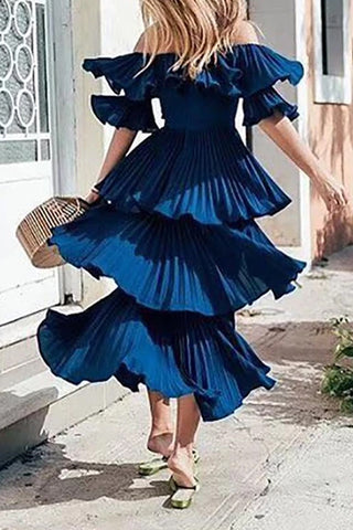 Elegant Boat Neck Off-Shoulder Belted Splicing Dress