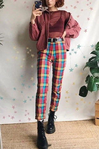 Fashion Modern Style Colorful Plaid Printed Casual Pants