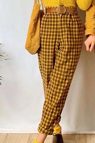 Fashion yellow plaid button loose straight pants