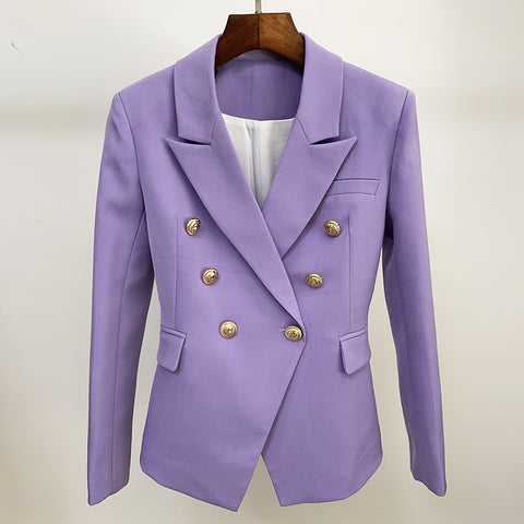 Newest 2020 Designer Blazer Women's Classic Lion Buttons Double Breasted Slim Fit Blazer