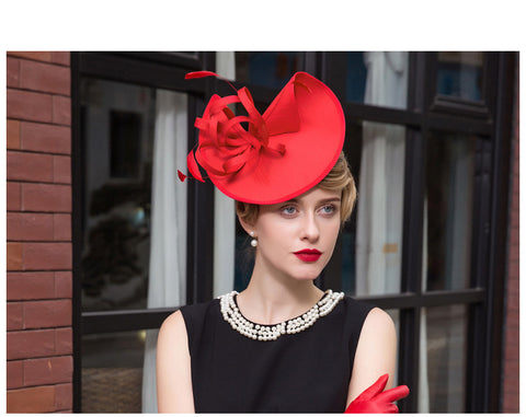 Fascinators Red Hat Women Pillbox Hat Black Formal Cocktail Ladies  Hat