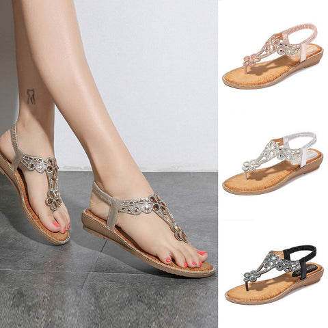 Women Flat Sandals Rhinestone Simple Fashion Low Heel Sandals