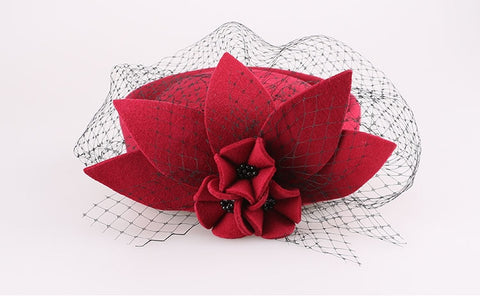 Elegant Rose Flower Wool Pillbox Hat With Veil Fascinated Womens Cocktail Hats