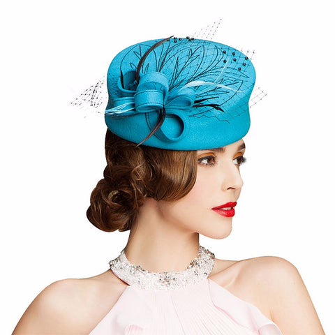 Fascinator Hats for Women Winter Embroidered Veil Wool