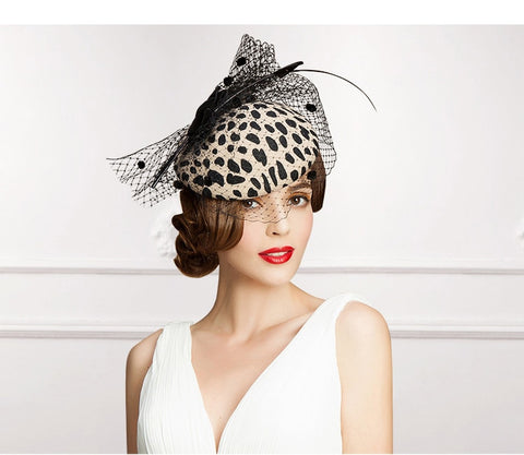 Women Vintage Bow Cocktail Fedoras