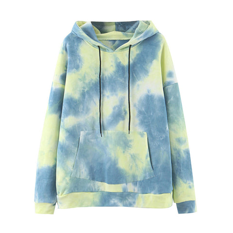 Hoodies Women Fashion Tie Dye Print Sweatshirt Drawstring Long Sleeve Autumn Women Clothes Streetwear Hoodie