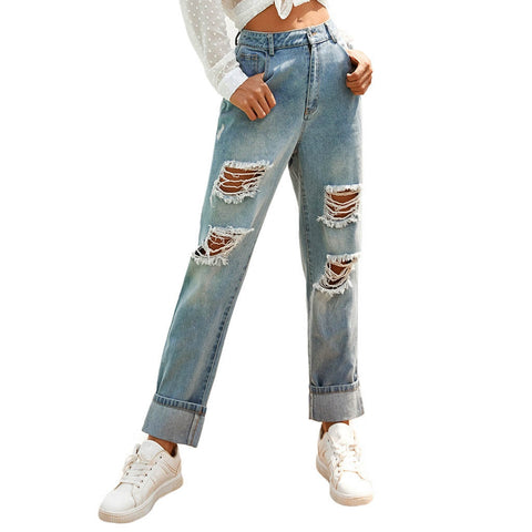 Hot Sale ripped jeans for women Slim-Fit Denim Zipper mom Jeans Trousers Loose Pants high waist jeans