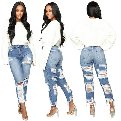 Hot sale woman ripped boyfriend jeans fashion casual office ladies denim jeans Ankle-Length Jeans