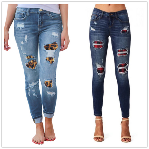 Women's ripped leopard print jeans Fashion stretch Skinny denim pencil pants Street casual hipster jeans S-2XL