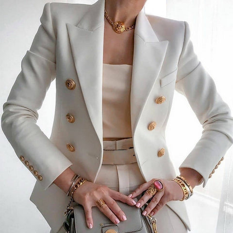 Blazer Jacket Women's Double Breasted Metal Lion Buttons Blazer Slim Fitting Gorgeous Office Ladies Outfit