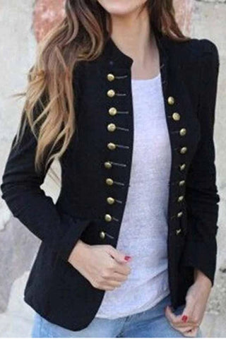 Lapel Plain Long Sleeve Button  Fashion Blazers