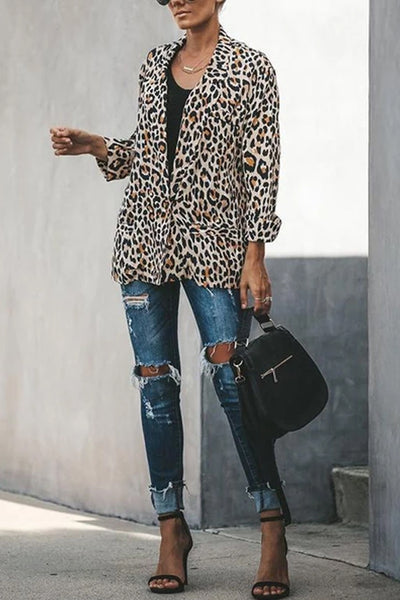 Leopard Printed Lapel Long Sleeve Fashion Blazers