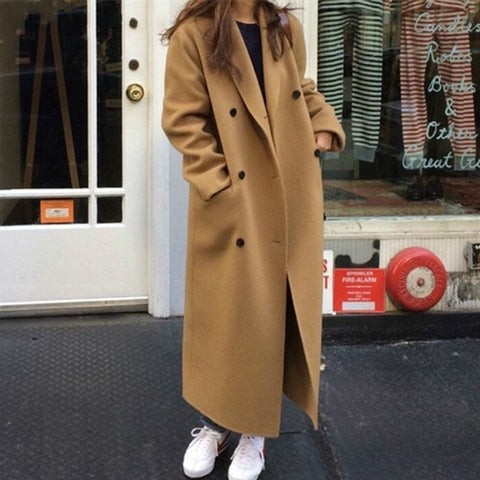 Double-breasted Women Long Overcoats Winter Warm Full Sleeve Notched Collar Female Woolen Coats Female 2019