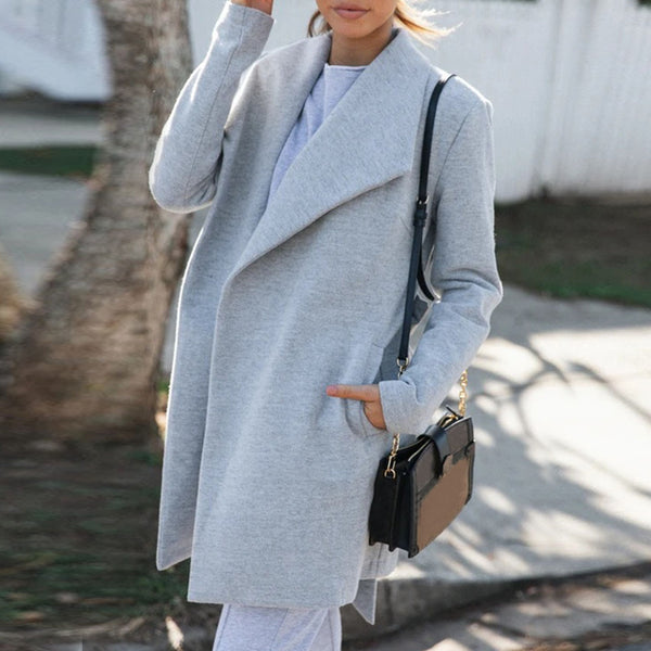Womens Autumn Winter Lapel Long Trench Coat Jacket with Sashes Ladies Overcoat