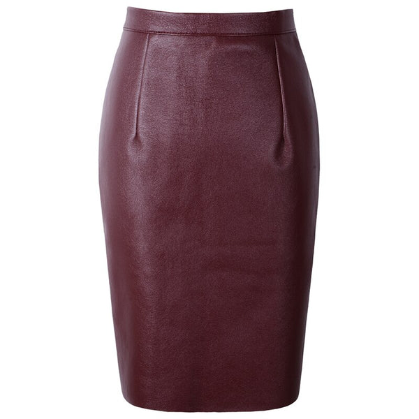 2020 Summer Sexy Faux Fur Leather Pu High Waist Midi Women Pencil Skirts