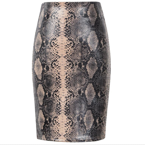 Leather Printed Pencil Short Skirt High Waist Snake Leopard Pattern Mini Skirts