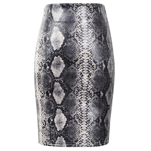 2020 Summer Suede Leather Printed Pencil Short Skirt High Waist Snake Leopard Pattern Mini Skirts