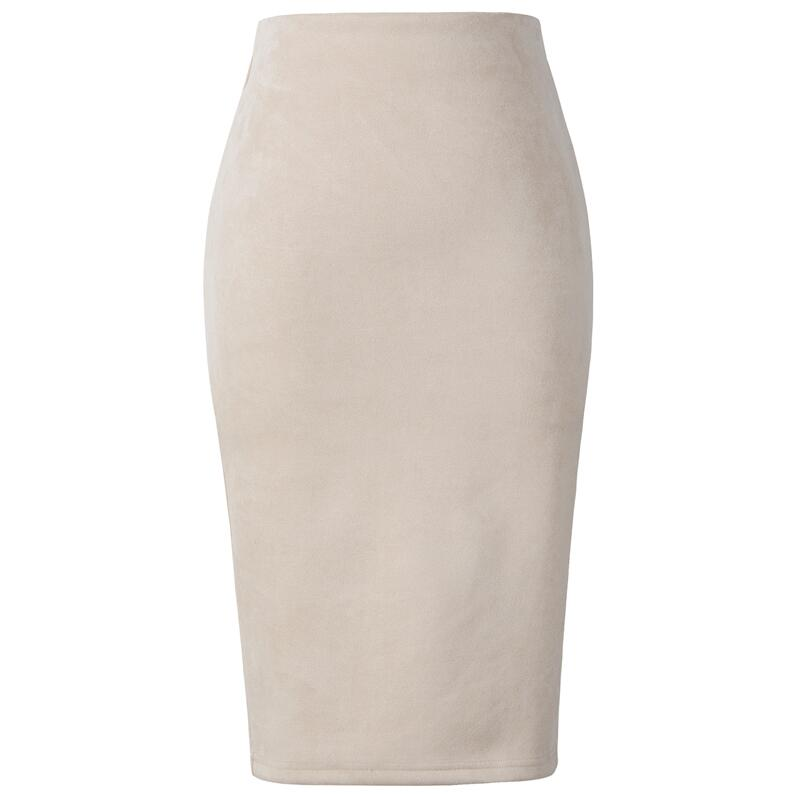 Women Suede Midi Pencil Skirt High Waist Stretch Wrap Ladies Office Work Skirt